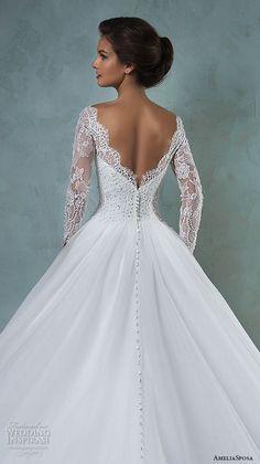 amelia sposa 2016 wedding dresses bateau neckline lace long sleeves beaded embellishment tulle skirt a line ball gown wedding dress jessica back view closeup