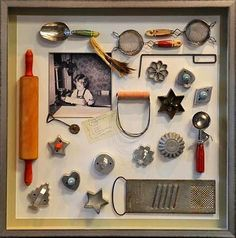 Display Grandma's old baking utensils in a Shadow Box Frame.
