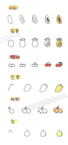 How to draw a variety of fruits 7, chrysanthemum people grow up from a matrix @