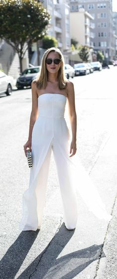 white strapless jumpsuit, nude flat sandals, black and white striped clutch, gold jewelry + black sunglasses {halston heritage, smoke x mirrors} {wedding anniversary outfit}