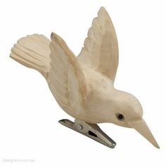 Humming Bird Carved Wood 10cm