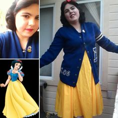 Snow White Disney bound. With handmade dress and vintage Letterman sweaters.