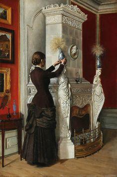 'Interior del castillo de Bygholm con una mujer junto a la chimenea' de Oscar Carl Laurits Schütte (Danish,1837-1913)