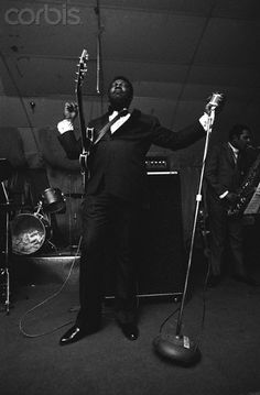 American blues guitarist B.B. King plays his guitar, Lucille, and sings the blues at the Sunshine Club. (c. 1971)  Credit: © Bob Adelman/Corbis