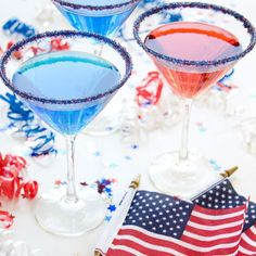 RED WHITE AND BLUE COCKTAIL RIM SUGAR - FOURTH OF JULY DRINKS