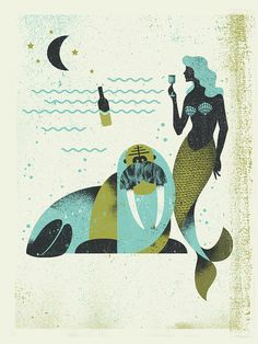 Vintage Graphic Design Poster by Michael Tabie. I like how he achieves the vintage/faded/shaded feel in a screenprint. Vintage Graphic Design, Graphic Design Illustration, Graphic Design Inspiration, Illustration Art, Mermaids And Mermen, Design Art, Print Design, Design Ideas, Illustrations Posters