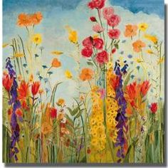 This floral?s festive use of color adds joy to a space. Ready to hang and UV coated to prevent fading; this artist grade canvas has natural colored edges and is stretched using a spline finish. Artist