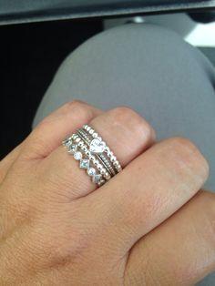 PANDORA Texas loves this light and bright ring stack! #PANDORARings #PANDORAstyle
