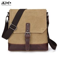494523bb85 Canvas+Crazy Horse Leather Vintage Bag New Men Messenger Bags Men Shoulder Crossbody  Bags for Man Small Bag Designer Handbag-in Crossbody Bags from Luggage ...
