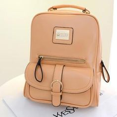 Buckled-Pocket Faux-Leather Backpack from #YesStyle <3 Miss Sweety YesStyle.com