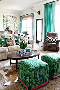 Dimples and Tangles: Spring Home Tour || Tommy Bahama Swaying Palms Pillow || Premier Prints Togo black and white pillow || Chiang Mai Dragon || Coffee Table Styling || Robert Allen Malakos Ottomans