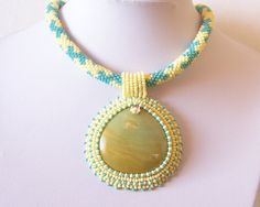 Beadwork Bead Embroidery Pendant Necklace with by lutita on Etsy, $80.00