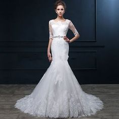 Backless Mermaid White/Ivory Lace Wedding Dresses Custom Size 4 6 8 10 12 14 16+