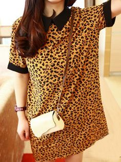 Yellow Lapel Short Sleeve Leopard Shirt