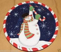 Certified-International-Susan-Winget-Christmas-Plate-Snowman-Nice-11-1-4