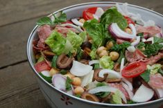 Recipe: This is a favorite recipe for a very flavorful #salad. Leon salad is plump with red onions, olives, tomatoes, salami, and more! Don't miss the delish homemade dressing too.