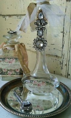 Rhinestone Embellished Savon Dulcifie Tall French by shabbychatue, $20.00