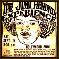 Jimi Hendrix at the Hollywood Bowl Sept 14th, 1968 - gosh, ya wanta go with me?? The expensive tickets are $6.50!! This concert was the one fans jumped into the fountains in front of the stage, trying to swim their way to Jimi!
