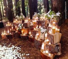 Great outdoor wedding decor. With the pictures of people I wish could be there around the candles