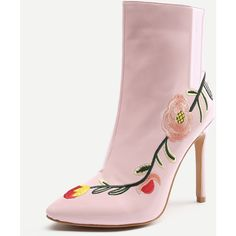 SheIn(sheinside) Flowers Embroidery Stiletto Ankle Boots (2.655 RUB) ❤ liked on Polyvore featuring shoes, boots, ankle booties, pink booties, ankle boots, high heel booties, stiletto ankle boots and pointy-toe ankle boots