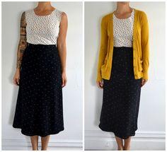 Vintage Black Long Hipster  Skirt With Beige Polka Dots