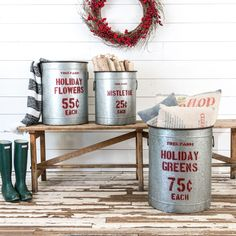 Tin Christmas Canisters