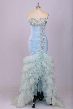 Blue Mermaid Prom Dress Vestidos Curtos Para Festa
