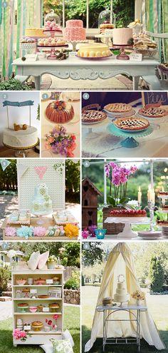 Vintage Kuchenbuffets und Hochzeitstorten-Inspirationen