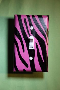 Pink Zebra print Light Switch Cover boy girl child teen room decor animal