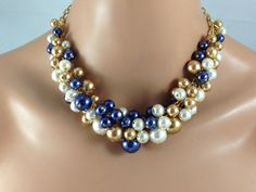Navy blue gold and ivory chunky necklace- bridesmaid jewelry-bg1