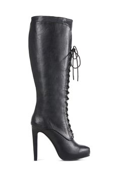 JF Korinna by JustFab is a sexy hidden platform stiletto boot with speed lacing at the top and a functional inner zipper for easy on and off.