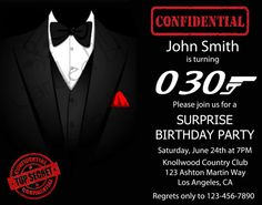 Man 50th birthday invitation surprise birthday invitation james surprisetuxjames bond birthday party invitation by cardedbycandy stopboris Choice Image