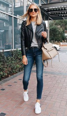 Blonde Woman Wearing Nordstrom Anniversray Sale Black Leather Jacket Grey Tshirt Denim Skinny Jeans Nike Sneakers Celine Mini Belt Bag Aviator Sunglasses F Comfy Fall Outfits, Casual Outfits, Fashion Outfits, Womens Fashion, Jackets Fashion, Autumn Outfits, Fashion Fall, Style Fashion, Black Leather Jacket Outfit