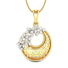 Diamonds can add so much drama to trellis than anything else can. A pretty trellis hanging deftly that covers half the crescent moon and commands attention! Pendant Design, Pendant Set, Gold Pendant, Diamond Pendant, Pendant Jewelry, Pendant Necklace, Premier Designs Jewelry, Jewelry Design, Buy Gold Chain