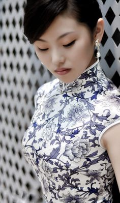 Blue & White Chinese Porcelain inspired Qipao (traditional Chinese dress also know as cheongsam)