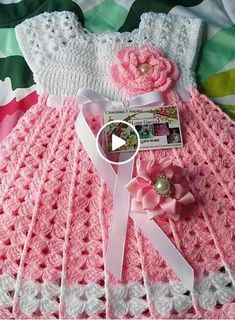 Gorgeous pink crochet baby dress set with shoes and a crown, this one is lightweight and beautiful for summer Crochet Baby Dress Pattern, Baby Dress Patterns, Baby Girl Crochet, Crochet Baby Clothes, Crochet Jacket, Crochet For Kids, Baby Blanket Crochet, Crochet Patterns, Crochet Hats