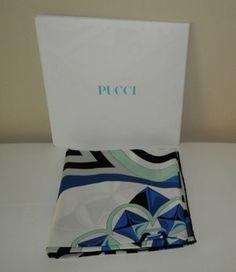 Emilio Pucci Green Black White Geometric Silk $181