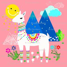 Looking for affordable art to decorate your home? check our shopping guide: Kids room decor, Living room decorating ideas, Bedroom decoration and Alpacas, Llama Arts, Llama Birthday, Affordable Art, Classroom Themes, Cute Illustration, Art Lessons, Kids Room, Doodles