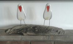 Fused glass gulls set in driftwood made by me!!