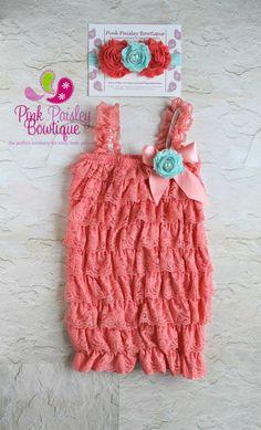 Petti Romper - 3 pc SET- Light Coral Petti Romper- Ruffle Romper -Baby Girl Rompers -Ruffle Rompers - 1st Birthday Outfit - Baby Romper