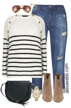 Plus Size Striped Sweater Outfit - Plus Size Fashion for Women - alexawebb.com #alexawebb