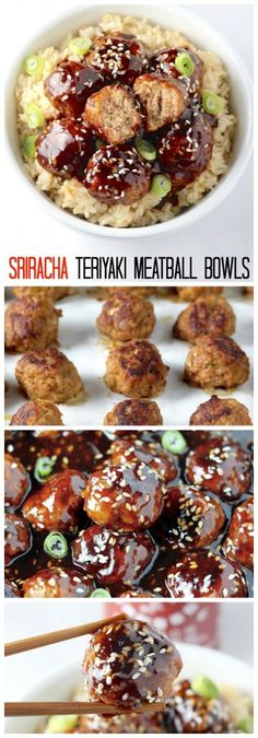 The Rise Of Private Label Brands In The Retail Meals Current Market Healthy 30 Minute Sriracha Teriyaki Meatball Bowls - Amazing Flavor In Just 30 Minutes Your Whole Family Will Love These Meatball And Rice Bowls Turkey Recipes, Paleo Recipes, Asian Recipes, Cooking Recipes, Cooking Games, I Love Food, Good Food, Yummy Food, Meatballs And Rice
