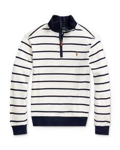 Polo Ralph Lauren Big Boys Cotton Interlock Stripe Pullover - Cream Multi Polo Ralph Lauren's striped half-zip pullover is crafted from extra-long-staple Supima cotton, which is prized for its durability, softness, and ability to retain color. Polo Ralph Lauren Kids, Ralph Lauren Style, Ralph Lauren Womens Clothing, Half Zip Pullover, Big Boys, Beige, Sweatshirts, Cream, Signature Logo