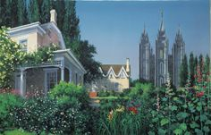 """""""Back Porch Garden"""" presents an 1890 view of the Salt Lake Temple and the famous gardens of the Beehive House, as well as the Lion House. This painting envisions the view Brigham Young would have had from his back porch upon the temple's completion. Utah Temples, Lds Temples, Mormon History, Splash Park, Temple Square, Salt Lake Temple, Famous Gardens, Porch Garden, A Day In Life"""
