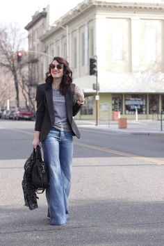 wide-leg jeans, tee and blazer