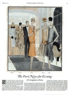 1927 vintage evening fashion from Paris, including Chanel