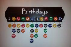 Family Birthday Calendar by CustomizeYourPallet on Etsy Family Birthday Calendar, Family Birthday Board, Classroom Birthday, Classroom Board, Birthday Diy, Classroom Decor, Class Birthdays, Family Birthdays, Birthday Organizer