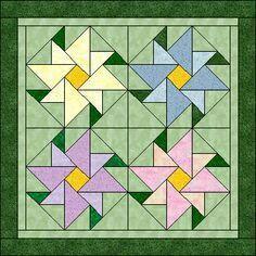 flower quilt block pattern - make single large blocks? Barn Quilt Patterns, Patchwork Patterns, Pattern Blocks, Quilting Patterns, Patchwork Quilting, Small Quilts, Mini Quilts, Patch Quilt, Quilting Projects