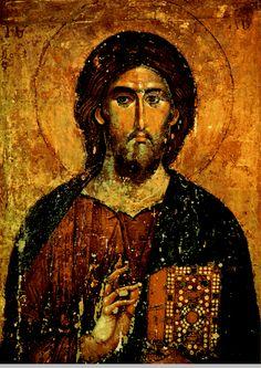 "Christ Pantocrator, 14th cent. Christ ""The Saviour and Source of Life"" Makedonian icon"