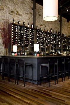 Contemporary Wine Design, I like the natural stone and wood floors.